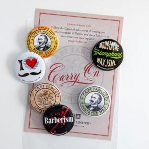 Captain Fawcett Tin Badges (pack of 6)