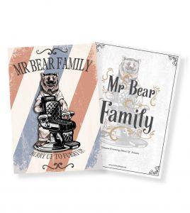 Mr Bear Family Poster Barber Chair